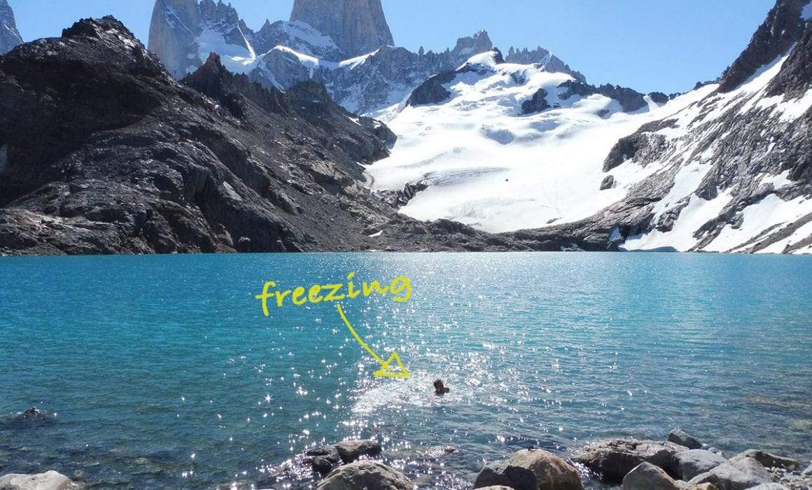 BE Business travel tech image of Ben in Fitzroy mountain freezing lake