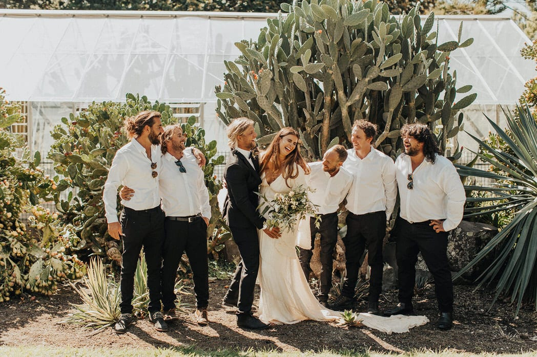 Nicole and Choppie - Gisborne Wedding captured by Oriwia Soutar. Free spirit in her Daughters of Simone gown; a seventies silhouette, fluted sleeves. Bohemian bride. Featured on Wild Hearts, New Zealand.